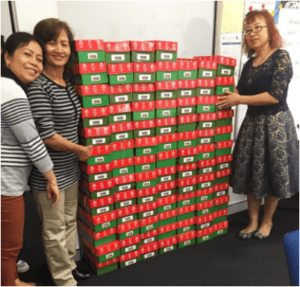 SEE students in Gosnells complete their shoeboxes with donations for charity at Centacare.