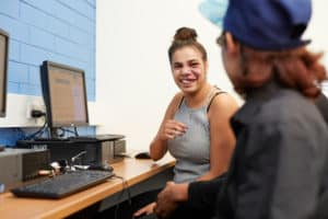 Young Aboriginal students in the computer lab at Centacare Cannington.