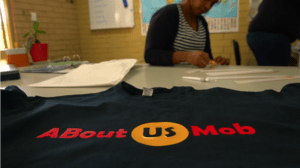 ABout Us Mob t-shirt celebrates Aboriginal culture in Centacare's Kadadjiny Bidi program.