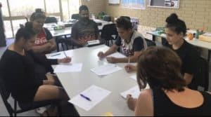 Kadadjiny Bidi Learning Path Aboriginal students working together in class at Centacare Armadale.