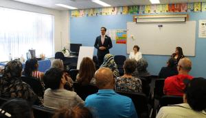 Matt Keogh addresses students and staff at Centacare Gosnells